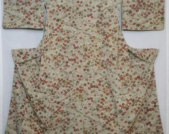 Women's vintage, kimono - Earth toned cherry blossom, maple and rough wave chirimen silk