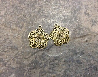 Bronze Filigree Flower pendant package of 2 charms perfect for pendants and jewelry making Beautiful Quality