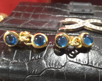 Sapphire Blue Cabouchon Clip-on Earrings