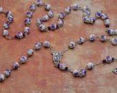 White & Purple Flower Rosary - White and Purple Flower Ceramic Beads - Italian Center with Water from Lourdes - Italian Filigree Crucifix