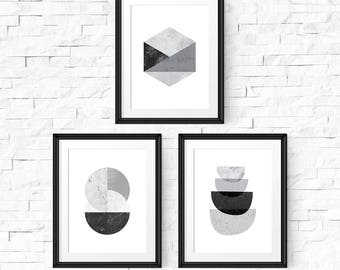 Abstract art set, Scandinavian print, Set of 3 prints, Printable wall art, Abstract art prints, Black and white, Printable prints