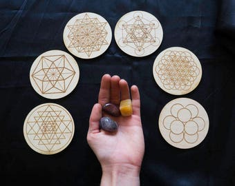 Sacred Geometry Altar Tiles Wooden Shapes