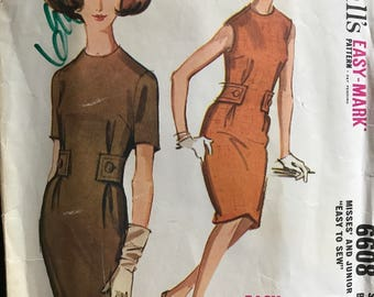 McCalls 6608 - 1960s Sleeveless or Short Sleeved Sheath Dress and Belt - Size 12 Bust 32