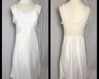 1950s or 60s White Full Slip with Lace Side Panels and Back - Size Medium