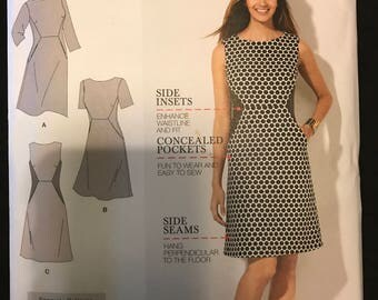 Simplicity 1277 - Amazing Fit Optical  Illusion Dress with Pockets - Size 10 - 18 OR  20 - 28