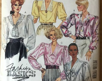 McCalls 2734 - 1980s Fashion Basics Button Front Blouse with Bow Tie and Lace Collar Options - Size 12 Bust 34