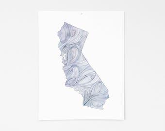 California State    11x14    Watercolor / Print / Wall Decor