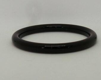 Vintage bangle - Black plastic tube bangle