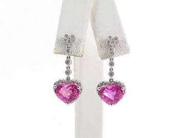 14k White Gold Diamond And Pink Topaz Heart Shape Dangling Earrings