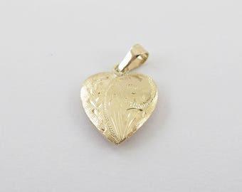 14K Yellow Gold 3D Heart Charm Pendant - Hand Engraved Heart 1.5 grams