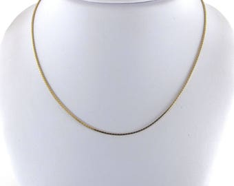 "14k Yellow Gold Box Chain Necklace 16"" 4.00 grams"