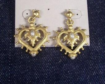 Vintage Dangle Heart Earrings.