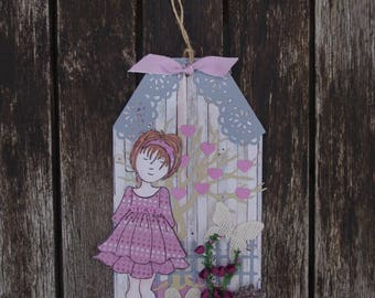 Decorative wooden plaque - Wooden tag, gifts for girls, gifts for her, bedroom decor, floral plaque, girls bedroom, little girl gift, wood