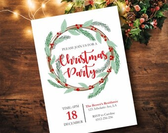 Christmas Party Invitation, Christmas Invitation, Winter Invitation, Printable Christmas Invite, Holiday Party Invitation, PDF