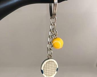 Tennis keychain, sport keychain, silver keychain, metal keychain, tennis racket keychain