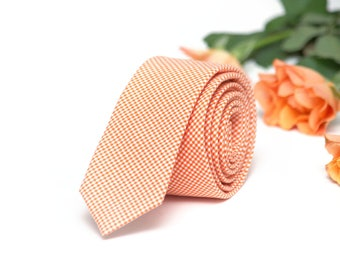 Peach Mens Necktie TC Salmon tie Handmade Cotton Men's necktie Men Neckties Wedding Formal Suit