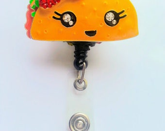 Taco Badge Reel, Retractable Badge Reel, Swivel Alligator Clip, Full Rhinestone, Taco Tuesday, Mexican
