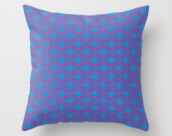Decorative Pillow, Purple Blue Throw Pillow, Retro Pattern Pillow, Cushion Cover and Insert, 16x16 18x18 20x20, Sofa Decor Cushion