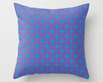 Decorative Pillow, Purple Blue Throw Pillow, Retro Pattern Pillow, Cushion Cover and Insert, 16x16 18x18 20x20, Sofa Decor Cushion