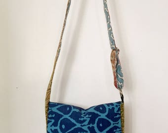 Cross-Body Messenger Bag, Midsized in Blue Rainbow