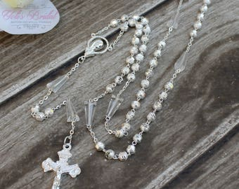 FAST SHIPPING!! Handcrafted Beautiful Crystal Rosary with Silver Beads, Communion Rosary, Confirmation Rosary, Christening Rosary, Gift