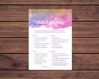 What's in Your Phone Game Bridal, Pink Purple Gold Confetti Whats in Your Phone Bridal Shower Game, Instant Download 254