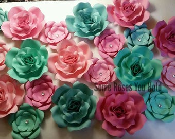 Pink & Teal Paper Flower Backdrop,20pc Paper Roses Set,Paper Flowers Wall Decor,Baby Shower Backdrop,Paper Roses,Party,Wedding, Nursery Wall