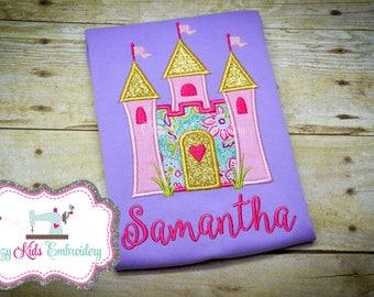 Princess Shirt, Princess Outfit, Castle Shirt , Castle Outfit, Capris, Castle Applique Shirt, Princess Applique Shirt, Personalized Shirt,