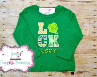 St. Patrick's Day Shirt, St Patty Shirt, St Patricks Day Shirt, Luck Shirt, Shamrock Shirt, Boy Shirt, Girl Shirt, Applique, Embroidery