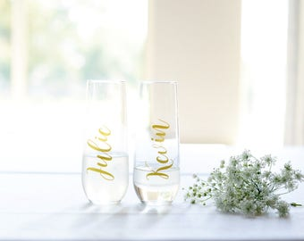 Personalized Champagne Flutes, Personalized Bridesmaid Champagne Glasses, Personalized Champagne Glasses, Bachelorette Flutes, Personalized