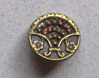 Antique Brass Waistcoat Button With Red and Green Foil