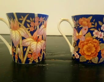 Pair of China Cups 'Indigo' by Queen's