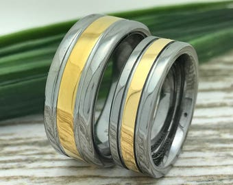 8mm/6mm Two Tone Tungsten Rings, His And Her Ring Set, Engraved Wedding Date Rings, Couple Promise Rings, Matching Couple Ring, Purity Rings