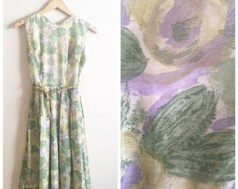 60s FLORAL SUNDRESS / vintage retro sun dress 50s cotton flowers xsmall extra small small short spring summer green pleated short midlength