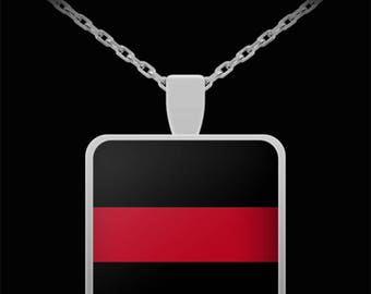 "Firefighter Thin Red Line Silver Plated 1"" Pendant Necklace and Chain"