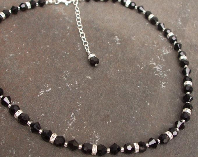 Black Swarovski crystal and diamante necklace- Sterling Silver