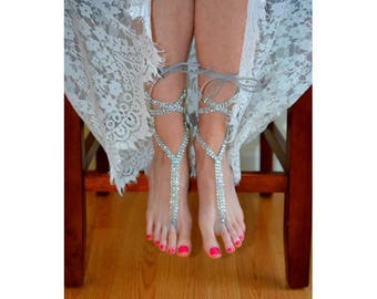 Barefoot sandals, footless sandals, beach wedding sandals, gladiator sandals, foot jewelry, anklet jewelry, bridesmaid gift, beach bride