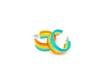Mod Pop Art Multicolor Hoop Earrings - Neon Orange Yellow Green Blue Molded Plastic Hoops - 60s 70s Mod Four Color Hoop Earrings