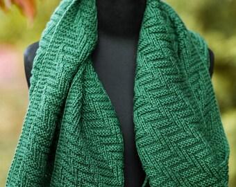 Dark emerald knit scarf, wool winter scarf, dark green oblong scarf, soft & cozy wool knitted oversized scarf, knitted green warm scarf