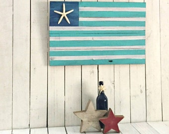 Aqua American Flag, Wood Beach Flag, Americana Décor, Primitive Americana, Fourth of July Décor, Wood American Flag, Rustic American Flag