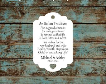 Jordan Almond, Sugared Almond, Italian Wedding Tradition Reception Favor Tags # 793 Qty: 30 Tags