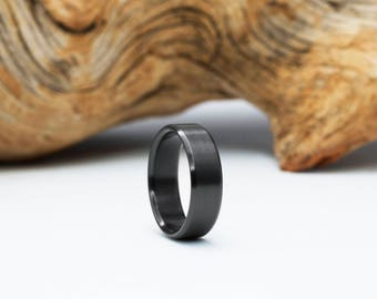 Zirconium ring, Heat Treated Zirconium, Black Wedding Band, Black Ring, Mens Ring, Classic Ring