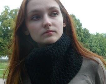 Crochet infinity scarf Knitted cowl Black Knit scarf Cowl Neckwarmer Circle scarf Gift ideas for her