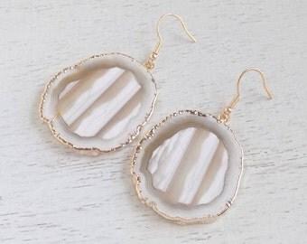 Statement Earrings, Natural Geode Earrings, White Agate Earrings, Large Gemstone Earrings, Slice Earrings, Clip-ons, Christmas Gift, 8-25
