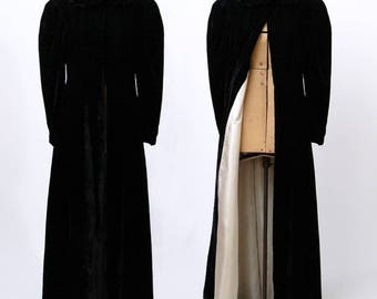 Vintage 1930u0027s Long Velvet Evening Coat | Fitted Black 30u0027s Jacket | Shaped  Waist | Full