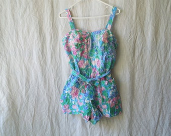 60s Ceeb Light Blue Floral Bathing Suit Swim Romper Playsuit