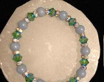 Angelite & Swarovski Crystal Healing Gemstone Bracelet