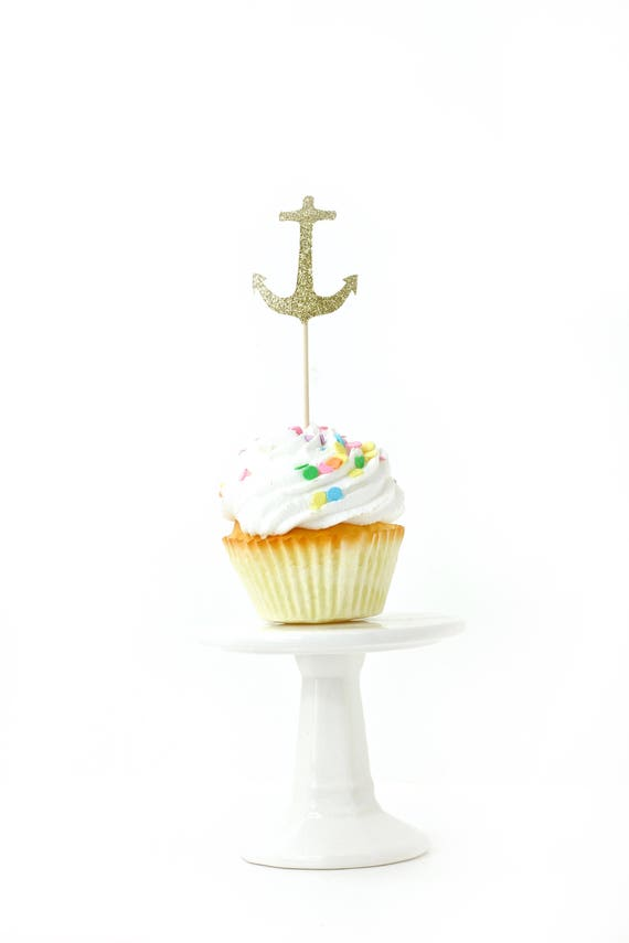 Anchor Gold Glitter Cupcake Toppers, Gold Anchor Toothpicks, Gold Party Decor, Food Decoration, Nautical Party, Boys Birthday, Sailor Decor