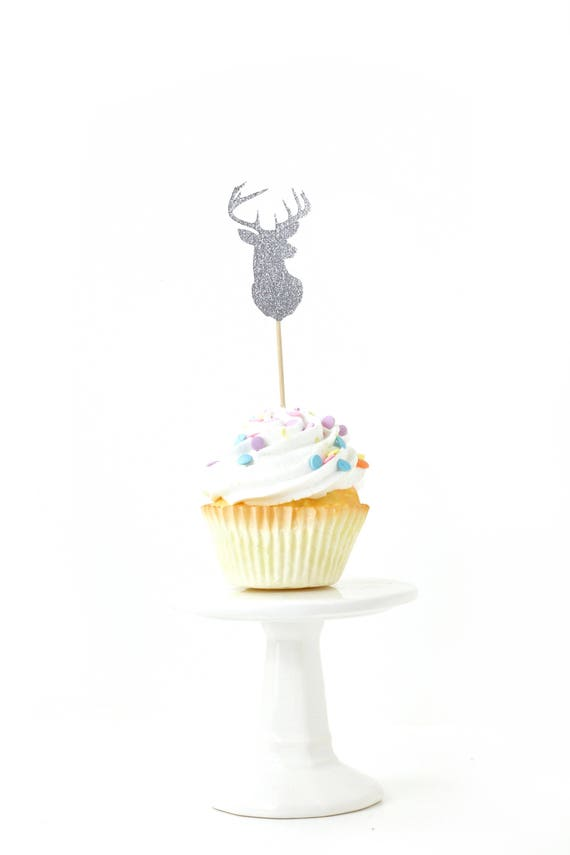 Buck Silver Glitter Cupcake Toppers, Silver Buck Toothpicks, Silver Party Decor, Food Decoration, Boys Birthday Party Decor, Deer, Woodland