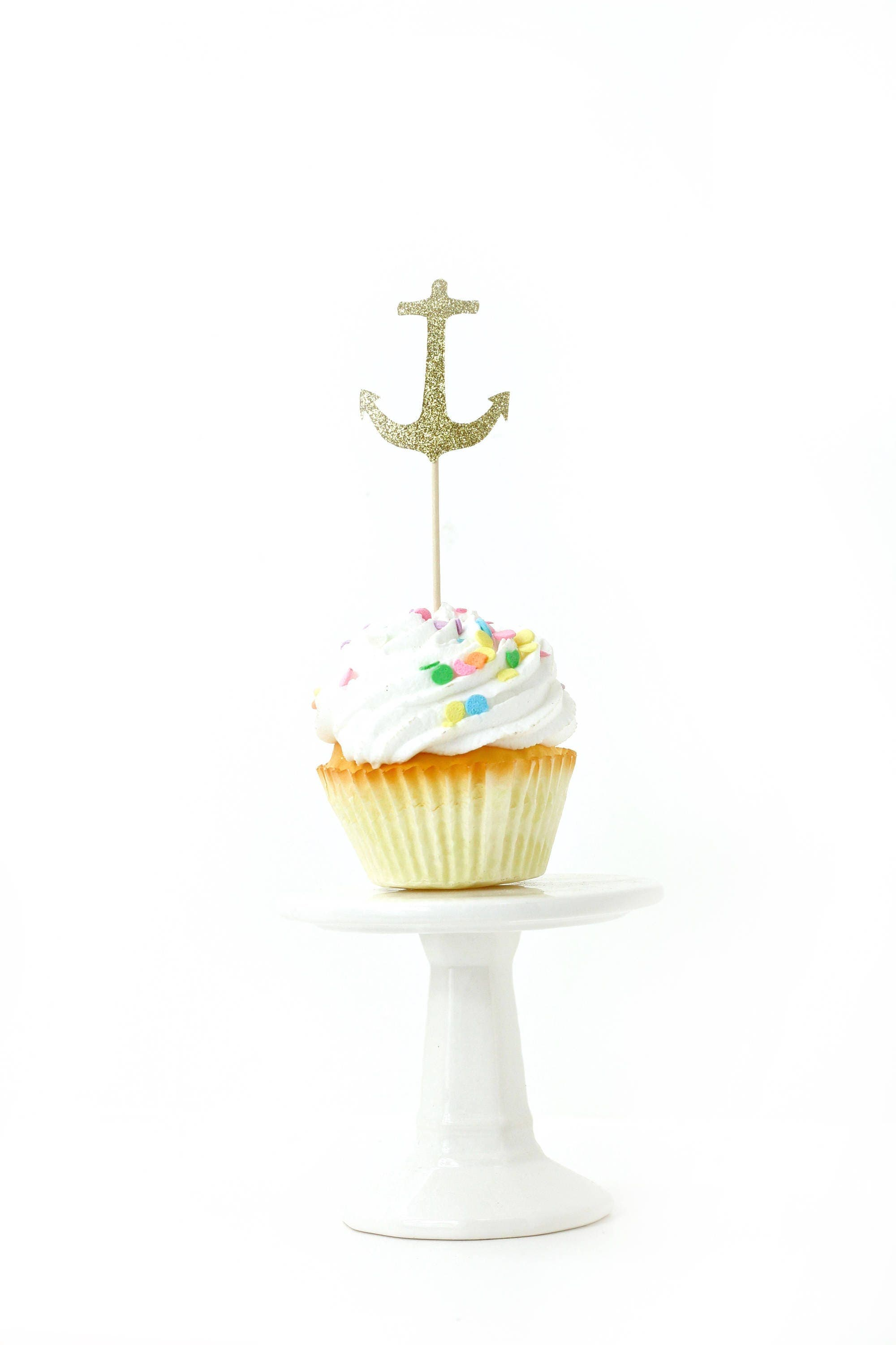 Anchor gold glitter cupcake toppers gold anchor for Anchor decoration party
